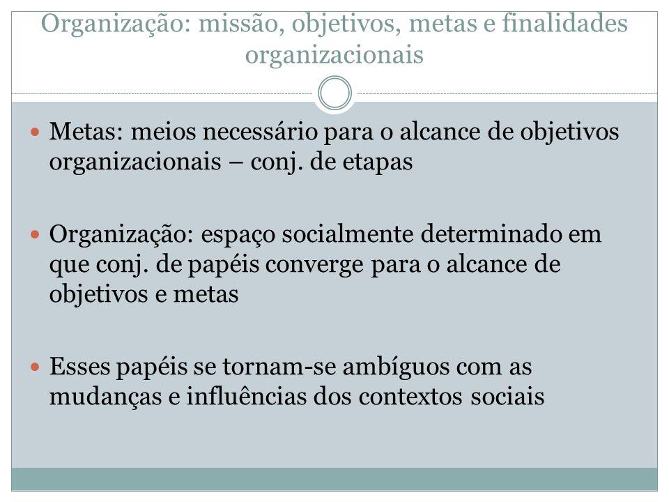 Organização: missão, objetivos, metas e finalidades organizacionais Metas: meios necessário para o alcance de objetivos organizacionais – conj. de eta
