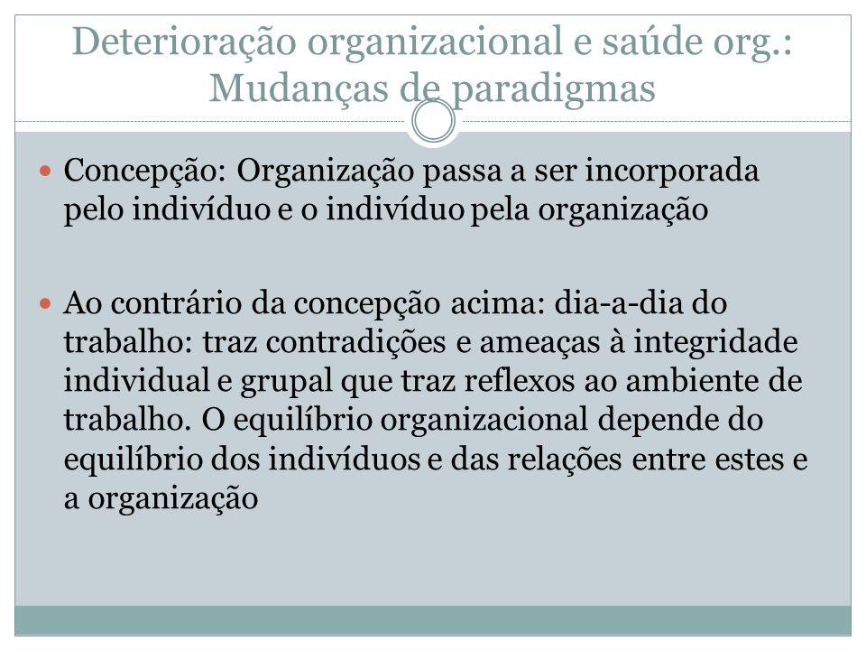 Deterioração organizacional e saúde org.: Mudanças de paradigmas Concepção: Organização passa a ser incorporada pelo indivíduo e o indivíduo pela orga