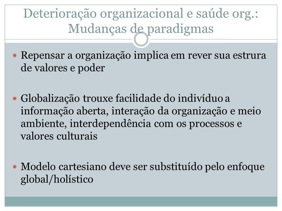 Deterioração organizacional e saúde org.: Mudanças de paradigmas Repensar a organização implica em rever sua estrura de valores e poder Globalização t