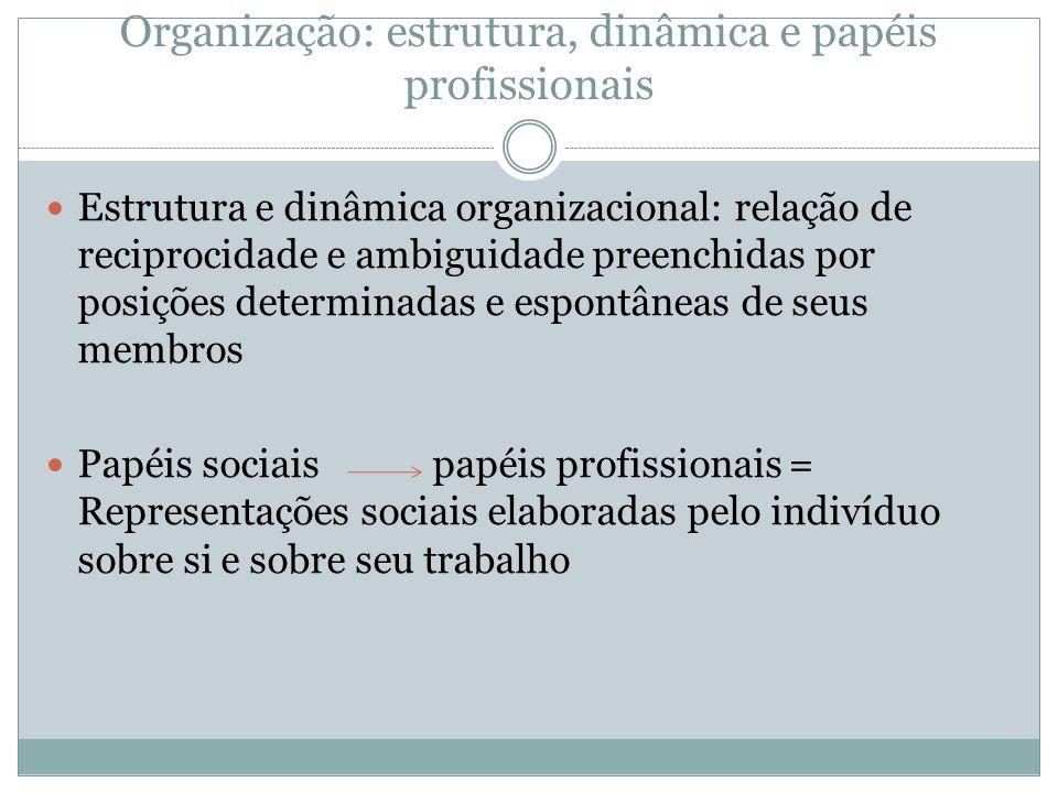 Organização: estrutura, dinâmica e papéis profissionais Organização: sistema social: papéis sociais se constroem nas interações sociais presentes no contexto do trabalho.