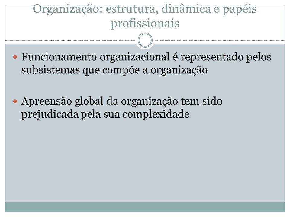 Organização: estrutura, dinâmica e papéis profissionais Funcionamento organizacional é representado pelos subsistemas que compõe a organização Apreens