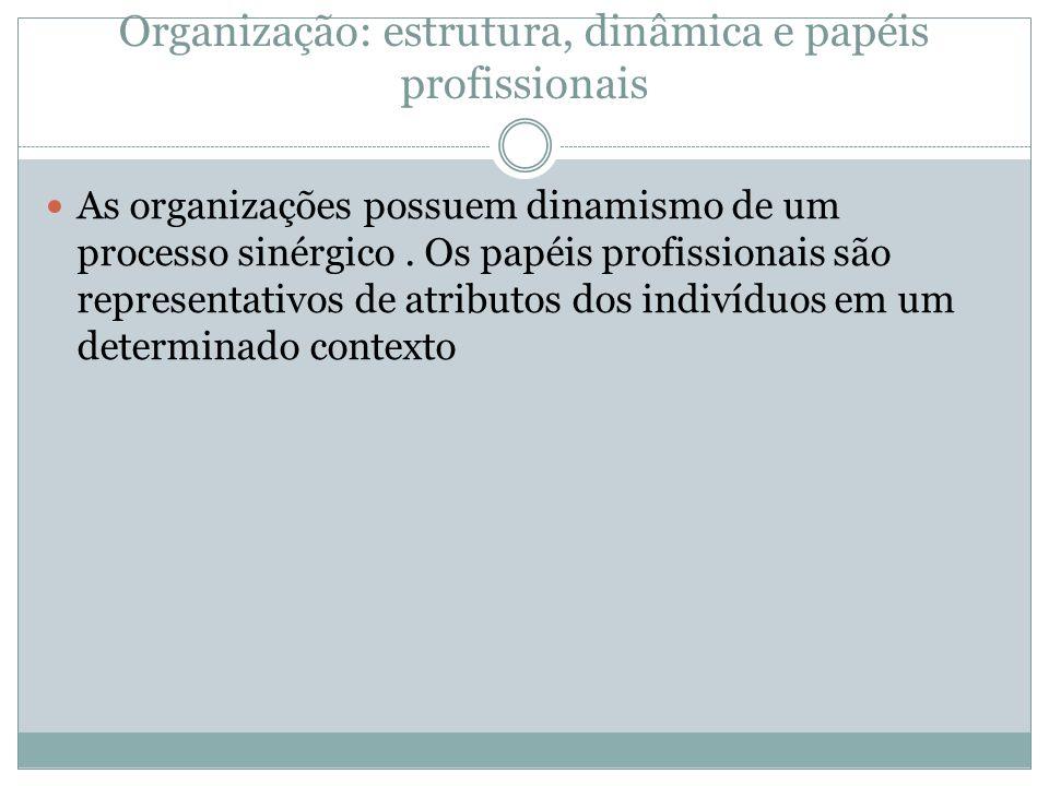 Organização: estrutura, dinâmica e papéis profissionais As organizações possuem dinamismo de um processo sinérgico. Os papéis profissionais são repres