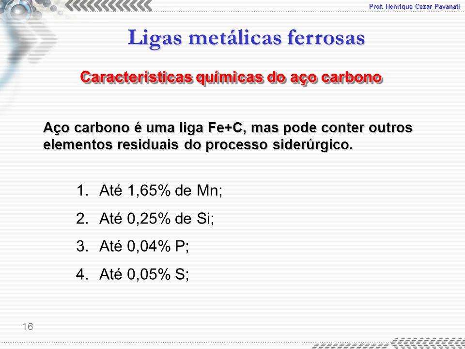 Prof. Henrique Cezar Pavanati Ligas metálicas ferrosas 16 Características químicas do aço carbono 1.Até 1,65% de Mn; 2.Até 0,25% de Si; 3.Até 0,04% P;