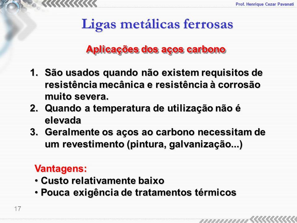 Prof. Henrique Cezar Pavanati Ligas metálicas ferrosas 17 Aplicações dos aços carbono 1.São usados quando não existem requisitos de resistência mecâni