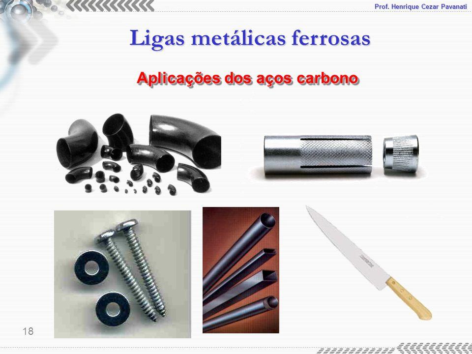 Prof. Henrique Cezar Pavanati Ligas metálicas ferrosas 18 Aplicações dos aços carbono