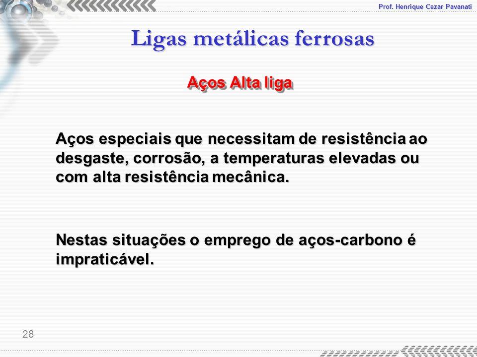 Prof. Henrique Cezar Pavanati Ligas metálicas ferrosas 28 Aços Alta liga Aços especiais que necessitam de resistência ao desgaste, corrosão, a tempera