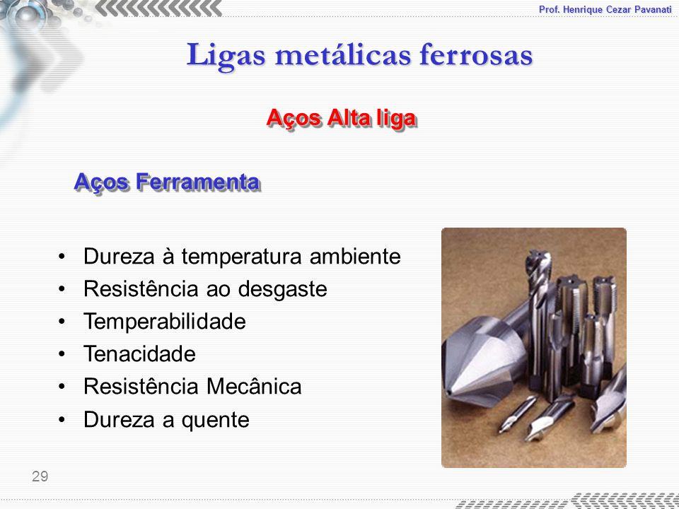 Prof. Henrique Cezar Pavanati Ligas metálicas ferrosas 29 Aços Alta liga Aços Ferramenta Dureza à temperatura ambiente Resistência ao desgaste Tempera