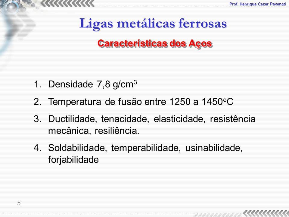 Prof. Henrique Cezar Pavanati Ligas metálicas ferrosas 5 Características dos Aços 1.Densidade 7,8 g/cm 3 2.Temperatura de fusão entre 1250 a 1450 o C