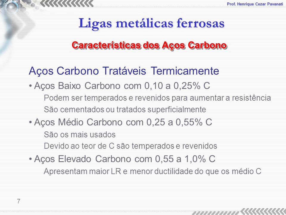 Prof. Henrique Cezar Pavanati Ligas metálicas ferrosas 7 Aços Carbono Tratáveis Termicamente Aços Baixo Carbono com 0,10 a 0,25% C Podem ser temperado