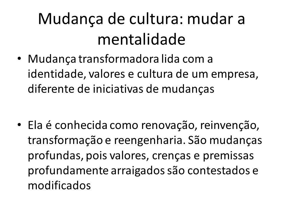 Mudança de cultura: mudar a mentalidade Mudança transformadora lida com a identidade, valores e cultura de um empresa, diferente de iniciativas de mud