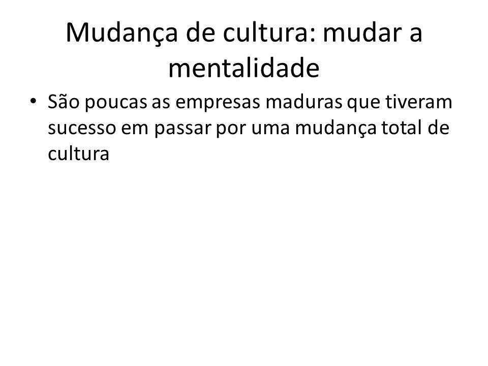 Mudança de cultura: mudar a mentalidade São poucas as empresas maduras que tiveram sucesso em passar por uma mudança total de cultura