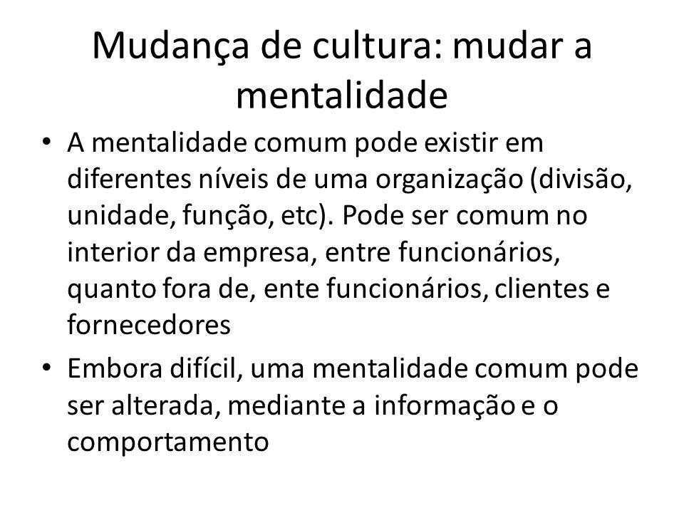 Mudança de cultura: mudar a mentalidade A mentalidade comum pode existir em diferentes níveis de uma organização (divisão, unidade, função, etc). Pode