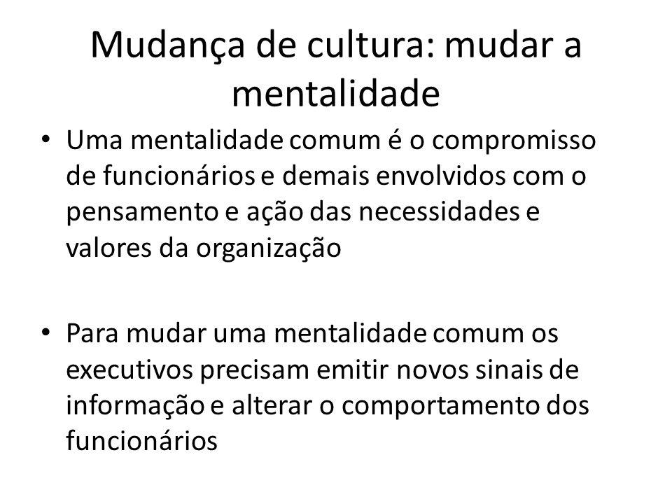Mudança de cultura: mudar a mentalidade Uma mentalidade comum é o compromisso de funcionários e demais envolvidos com o pensamento e ação das necessid