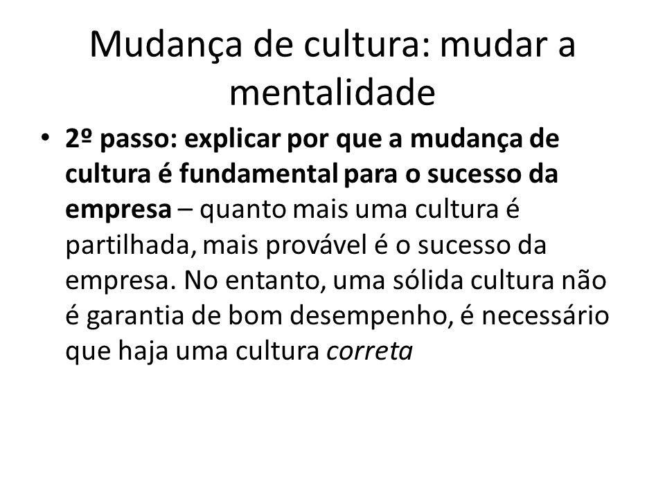 Mudança de cultura: mudar a mentalidade 2º passo: explicar por que a mudança de cultura é fundamental para o sucesso da empresa – quanto mais uma cult