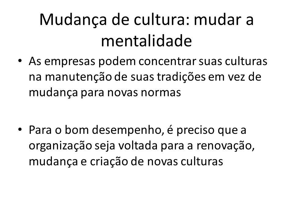 Mudança de cultura: mudar a mentalidade As empresas podem concentrar suas culturas na manutenção de suas tradições em vez de mudança para novas normas