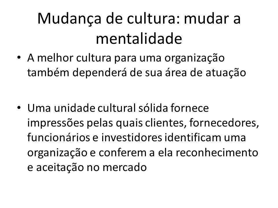 Mudança de cultura: mudar a mentalidade A melhor cultura para uma organização também dependerá de sua área de atuação Uma unidade cultural sólida forn