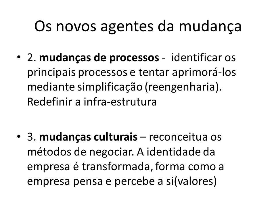 Os novos agentes da mudança 2. mudanças de processos - identificar os principais processos e tentar aprimorá-los mediante simplificação (reengenharia)