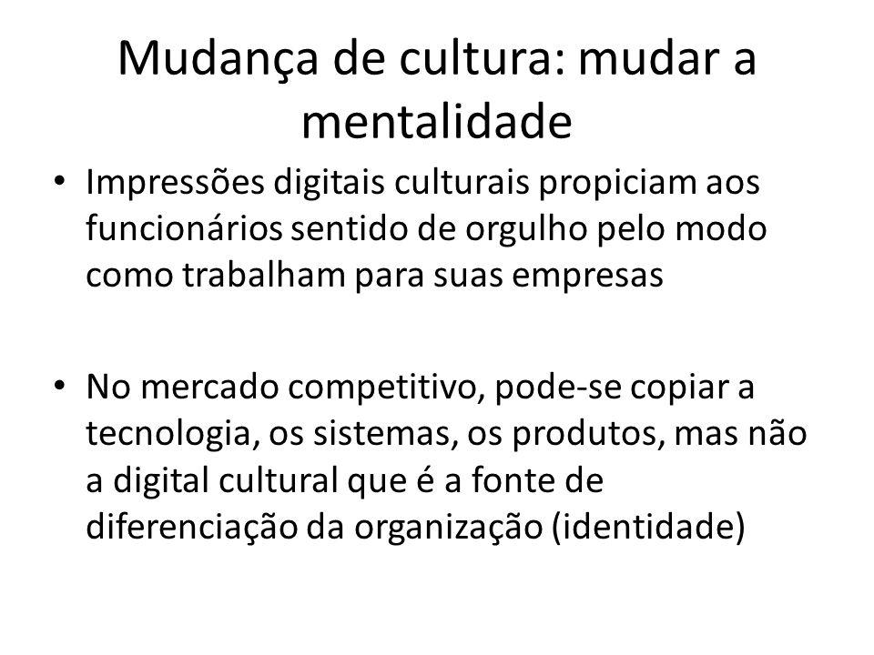Mudança de cultura: mudar a mentalidade Impressões digitais culturais propiciam aos funcionários sentido de orgulho pelo modo como trabalham para suas