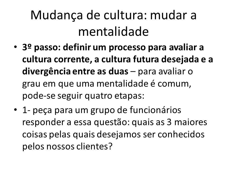 Mudança de cultura: mudar a mentalidade 3º passo: definir um processo para avaliar a cultura corrente, a cultura futura desejada e a divergência entre