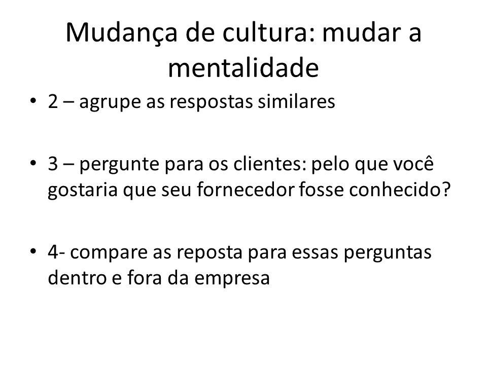 Mudança de cultura: mudar a mentalidade 2 – agrupe as respostas similares 3 – pergunte para os clientes: pelo que você gostaria que seu fornecedor fos