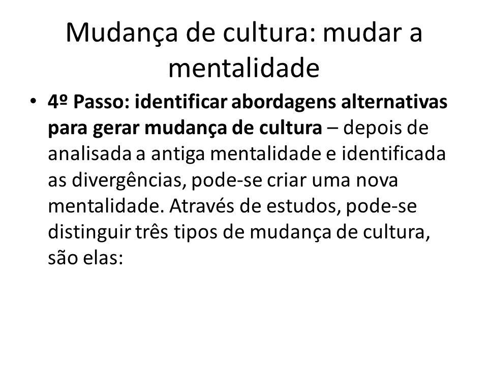 Mudança de cultura: mudar a mentalidade 4º Passo: identificar abordagens alternativas para gerar mudança de cultura – depois de analisada a antiga men