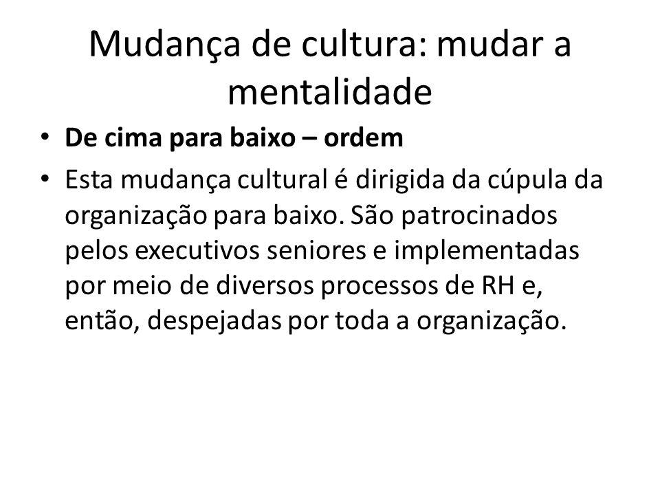 Mudança de cultura: mudar a mentalidade De cima para baixo – ordem Esta mudança cultural é dirigida da cúpula da organização para baixo. São patrocina