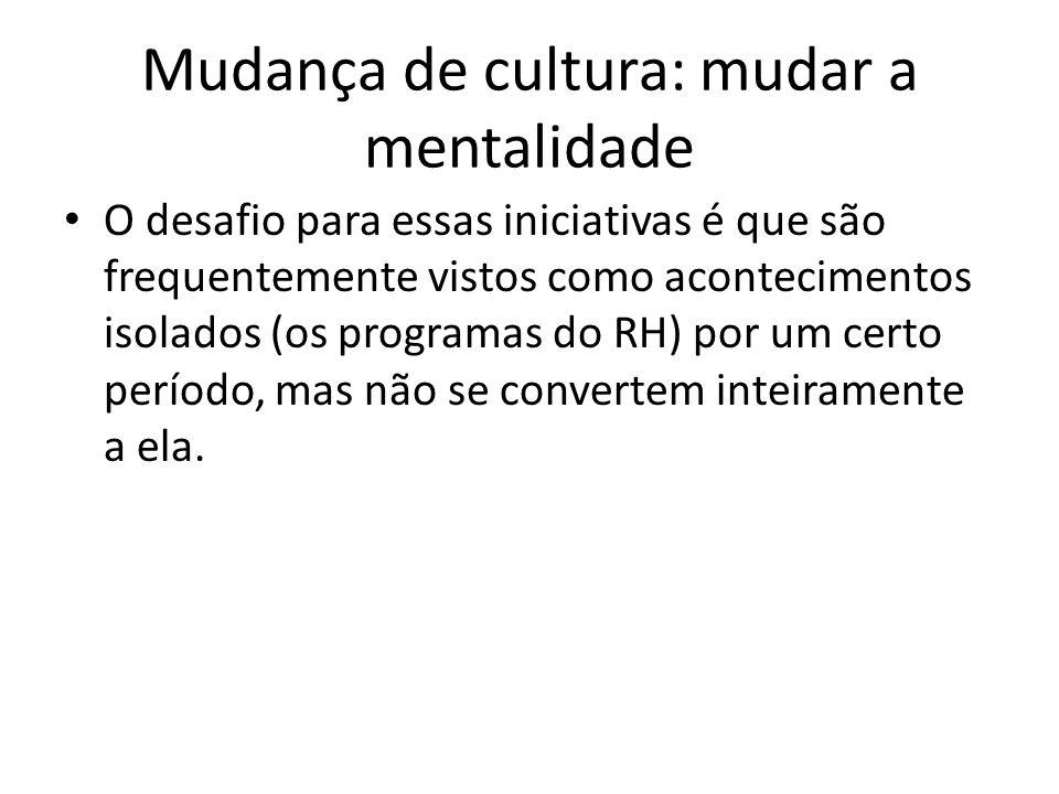 Mudança de cultura: mudar a mentalidade O desafio para essas iniciativas é que são frequentemente vistos como acontecimentos isolados (os programas do