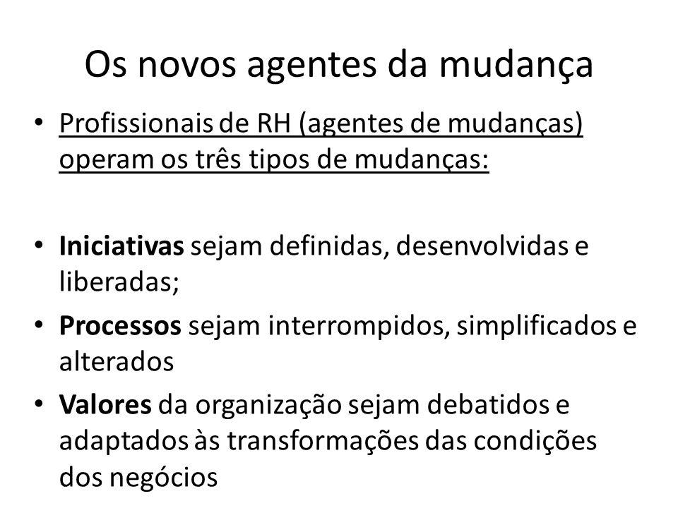 Os novos agentes da mudança Profissionais de RH (agentes de mudanças) operam os três tipos de mudanças: Iniciativas sejam definidas, desenvolvidas e l