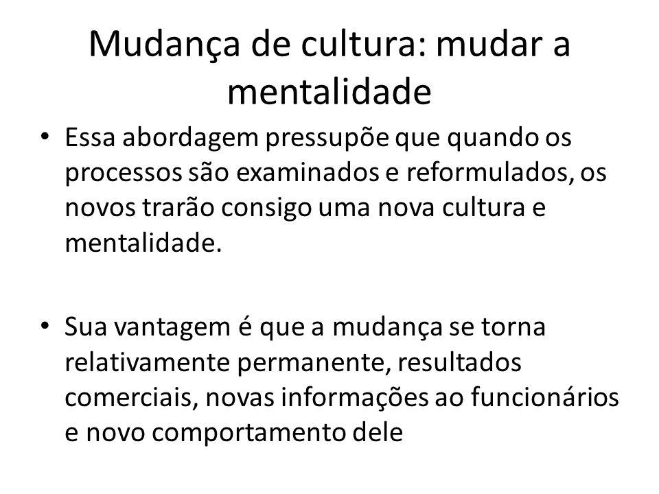 Mudança de cultura: mudar a mentalidade Essa abordagem pressupõe que quando os processos são examinados e reformulados, os novos trarão consigo uma no