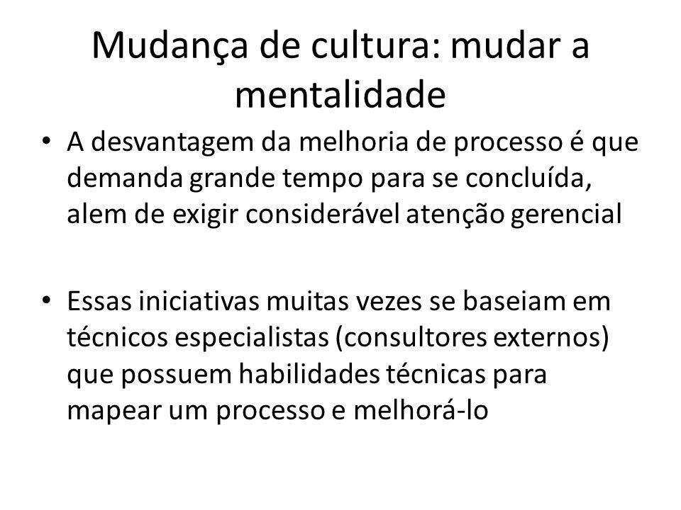 Mudança de cultura: mudar a mentalidade A desvantagem da melhoria de processo é que demanda grande tempo para se concluída, alem de exigir consideráve