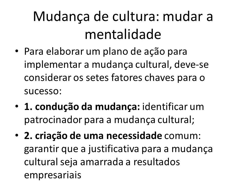 Mudança de cultura: mudar a mentalidade Para elaborar um plano de ação para implementar a mudança cultural, deve-se considerar os setes fatores chaves
