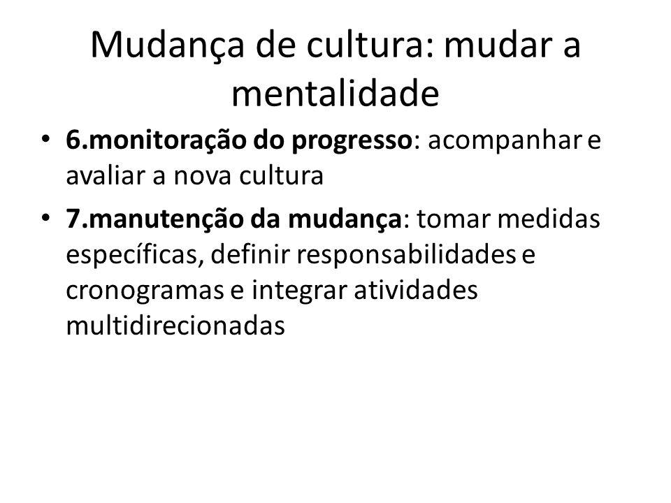 Mudança de cultura: mudar a mentalidade 6.monitoração do progresso: acompanhar e avaliar a nova cultura 7.manutenção da mudança: tomar medidas específ