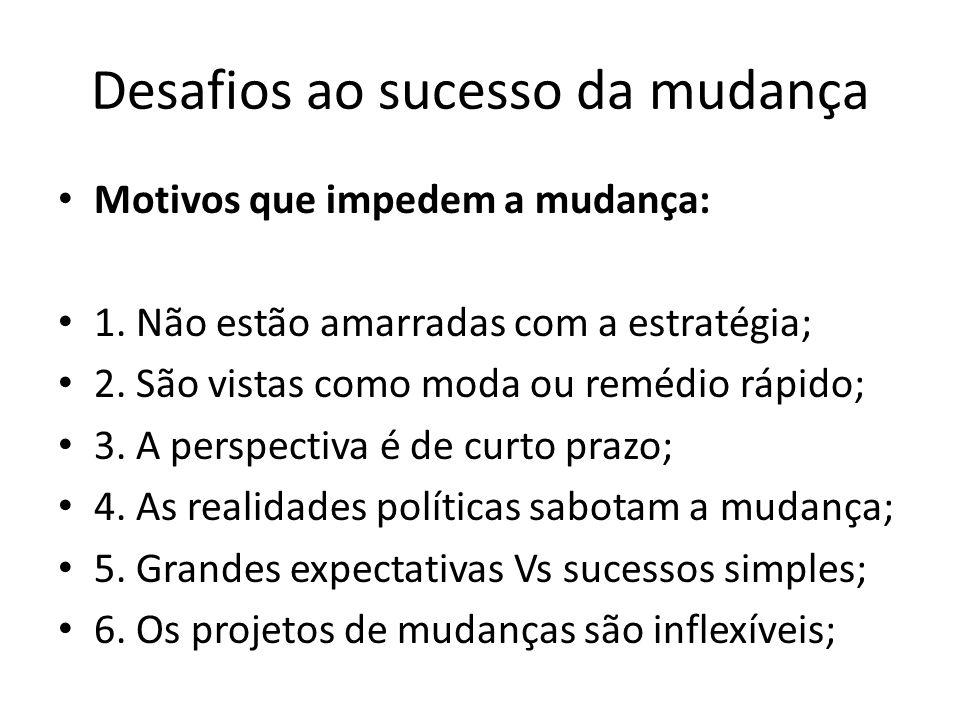 Desafios ao sucesso da mudança Motivos que impedem a mudança: 1. Não estão amarradas com a estratégia; 2. São vistas como moda ou remédio rápido; 3. A