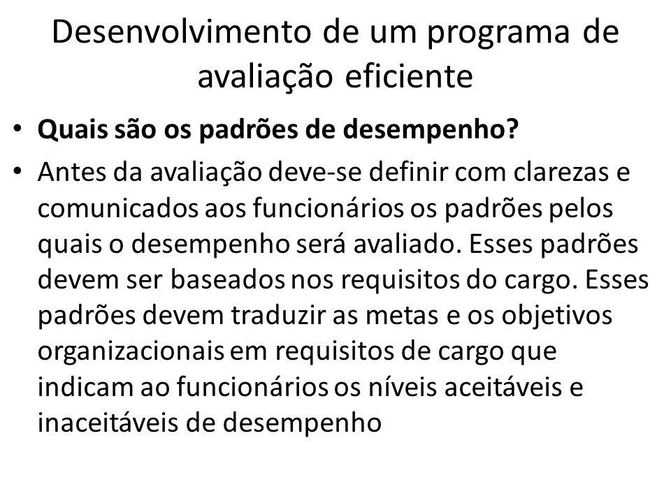 Desenvolvimento de um programa de avaliação eficiente Quais são os padrões de desempenho? Antes da avaliação deve-se definir com clarezas e comunicado