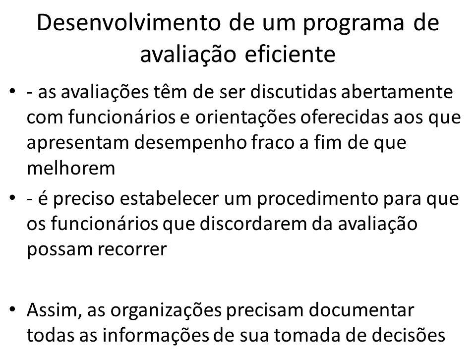 Desenvolvimento de um programa de avaliação eficiente - as avaliações têm de ser discutidas abertamente com funcionários e orientações oferecidas aos
