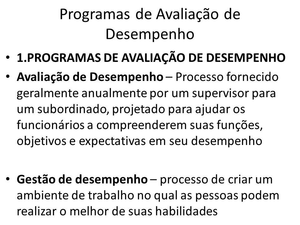 Programas de Avaliação de Desempenho 1.PROGRAMAS DE AVALIAÇÃO DE DESEMPENHO Avaliação de Desempenho – Processo fornecido geralmente anualmente por um