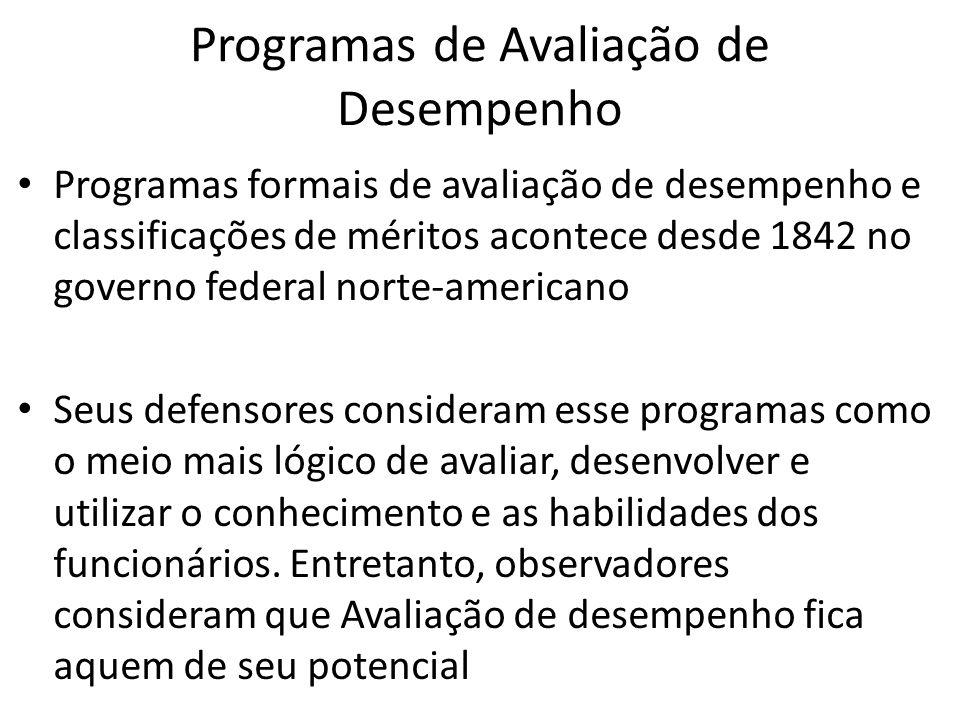 Programas de Avaliação de Desempenho Programas formais de avaliação de desempenho e classificações de méritos acontece desde 1842 no governo federal n