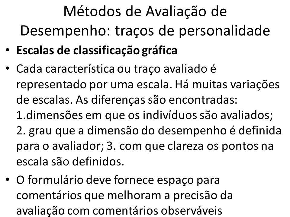 Métodos de Avaliação de Desempenho: traços de personalidade Escalas de classificação gráfica Cada característica ou traço avaliado é representado por