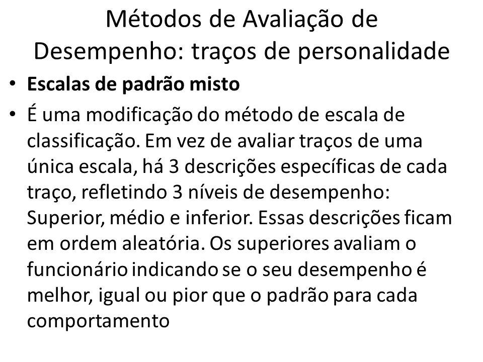 Métodos de Avaliação de Desempenho: traços de personalidade Escalas de padrão misto É uma modificação do método de escala de classificação. Em vez de