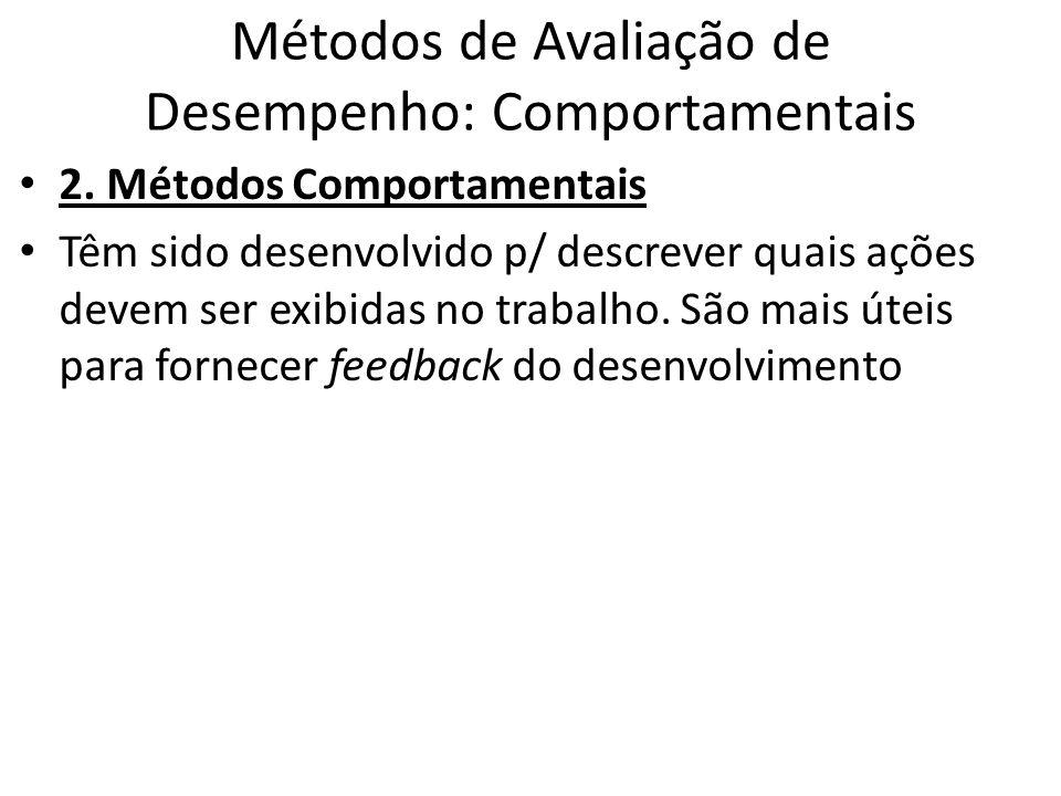 Métodos de Avaliação de Desempenho: Comportamentais 2. Métodos Comportamentais Têm sido desenvolvido p/ descrever quais ações devem ser exibidas no tr