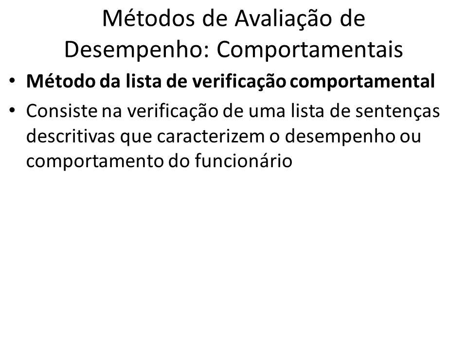 Métodos de Avaliação de Desempenho: Comportamentais Método da lista de verificação comportamental Consiste na verificação de uma lista de sentenças de