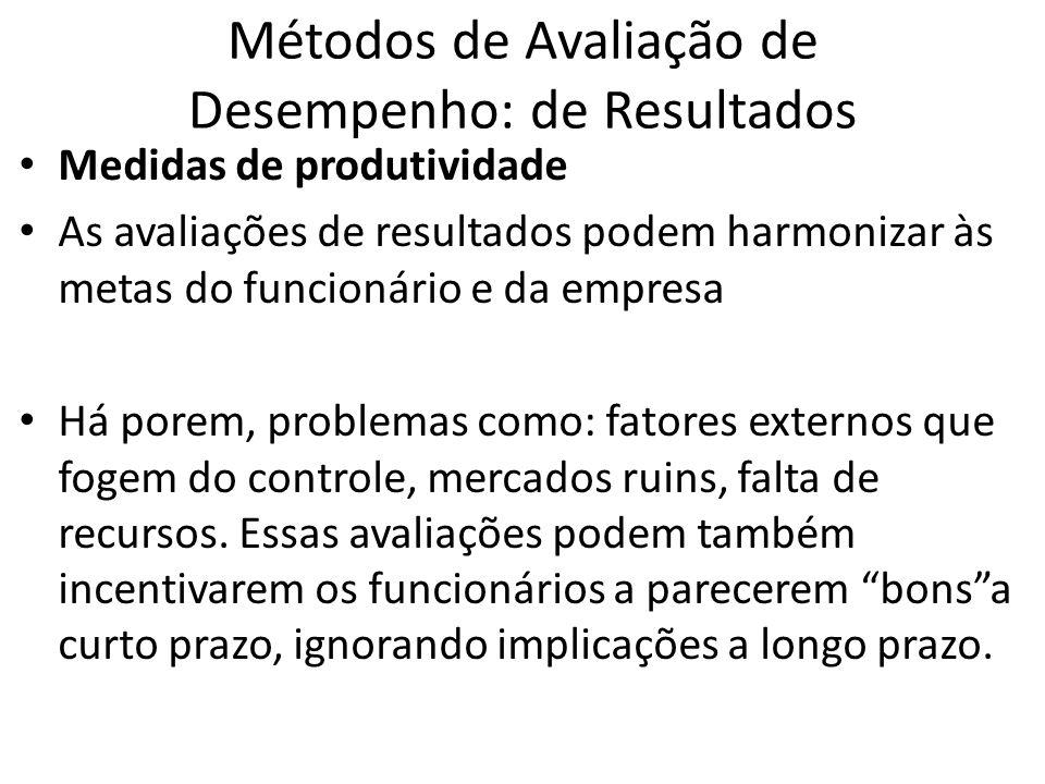 Métodos de Avaliação de Desempenho: de Resultados Medidas de produtividade As avaliações de resultados podem harmonizar às metas do funcionário e da e