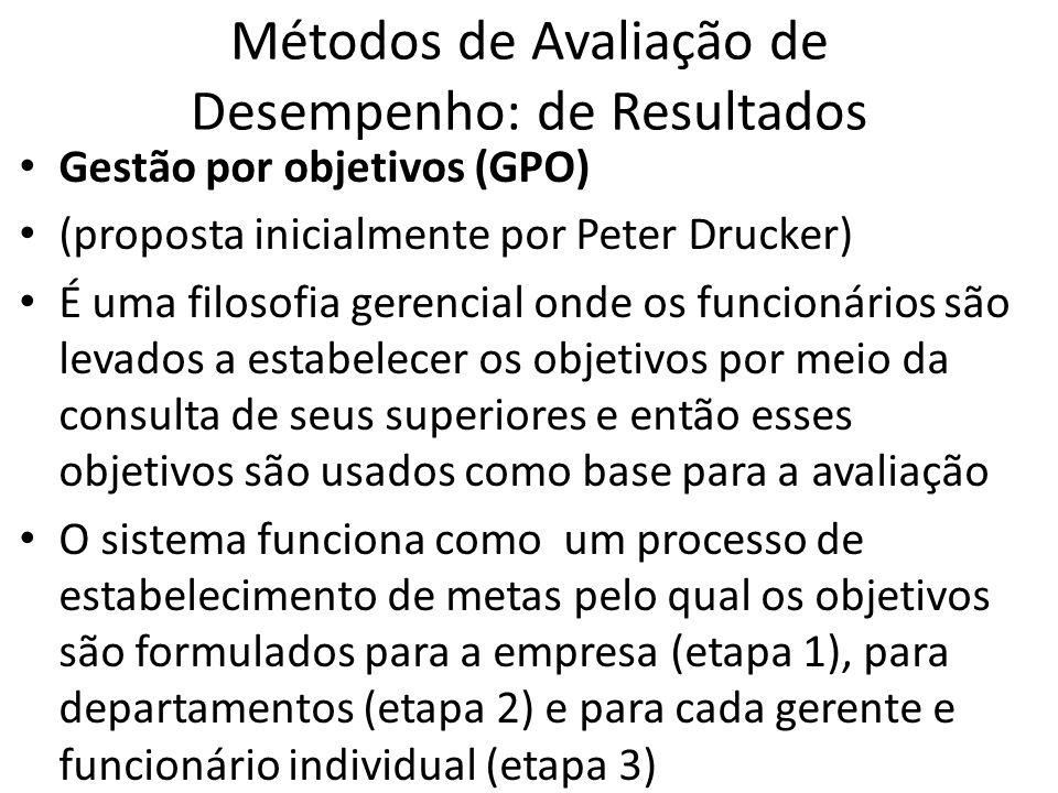 Métodos de Avaliação de Desempenho: de Resultados Gestão por objetivos (GPO) (proposta inicialmente por Peter Drucker) É uma filosofia gerencial onde