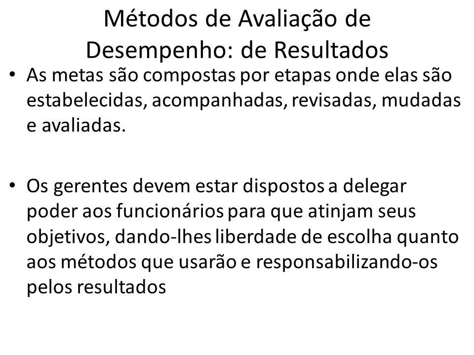 Métodos de Avaliação de Desempenho: de Resultados As metas são compostas por etapas onde elas são estabelecidas, acompanhadas, revisadas, mudadas e av