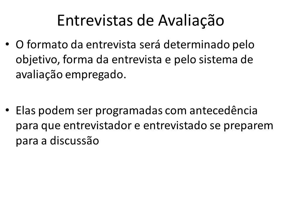 Entrevistas de Avaliação O formato da entrevista será determinado pelo objetivo, forma da entrevista e pelo sistema de avaliação empregado. Elas podem