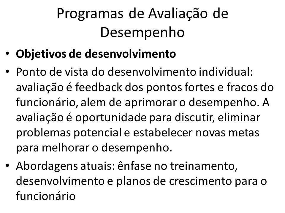 Programas de Avaliação de Desempenho Objetivos de desenvolvimento Ponto de vista do desenvolvimento individual: avaliação é feedback dos pontos fortes