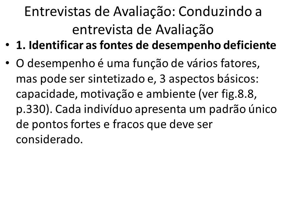 Entrevistas de Avaliação: Conduzindo a entrevista de Avaliação 1. Identificar as fontes de desempenho deficiente O desempenho é uma função de vários f