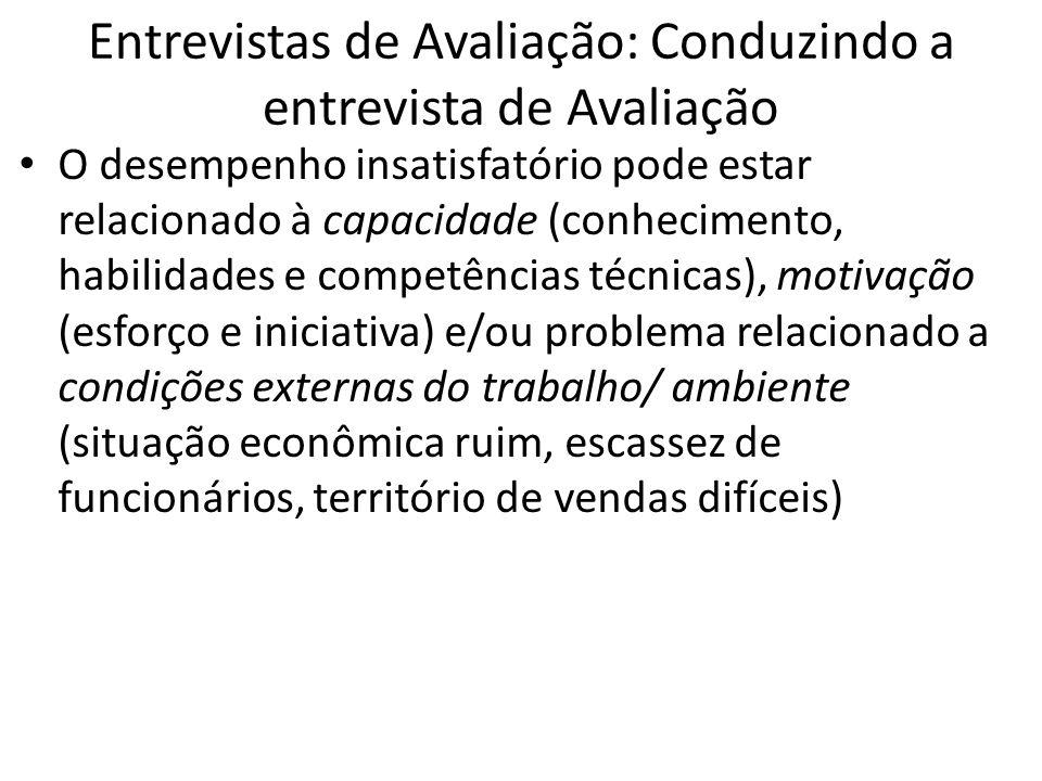 Entrevistas de Avaliação: Conduzindo a entrevista de Avaliação O desempenho insatisfatório pode estar relacionado à capacidade (conhecimento, habilida