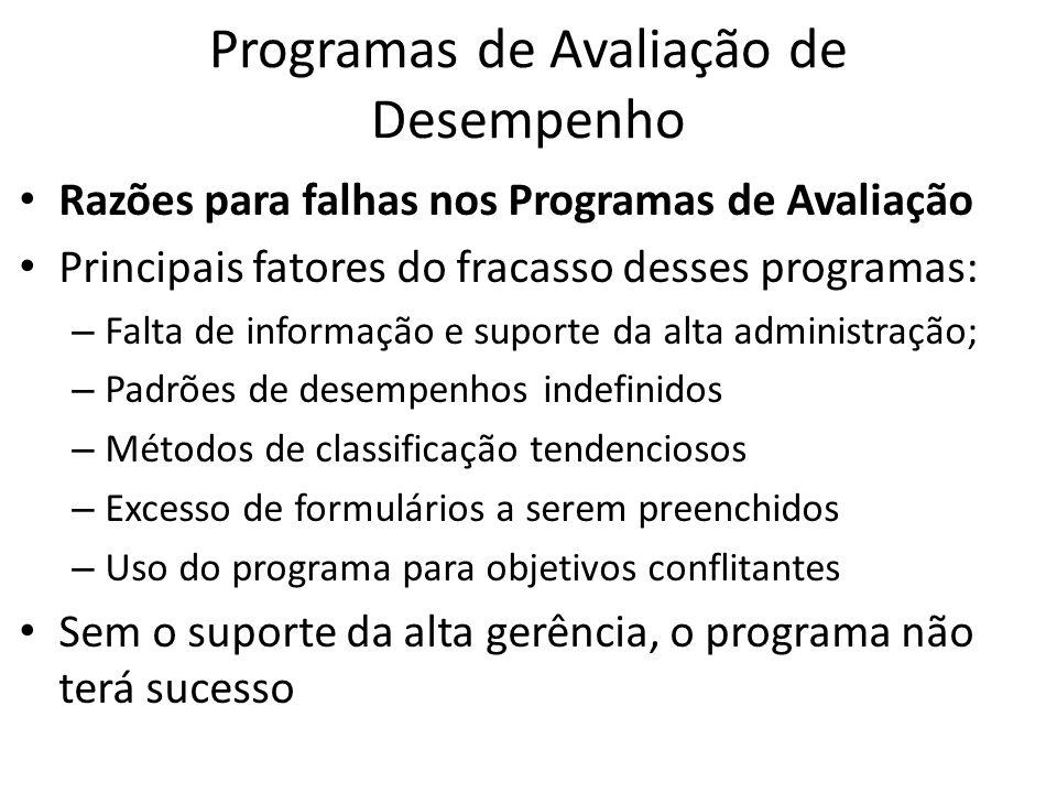 Programas de Avaliação de Desempenho Razões para falhas nos Programas de Avaliação Principais fatores do fracasso desses programas: – Falta de informa