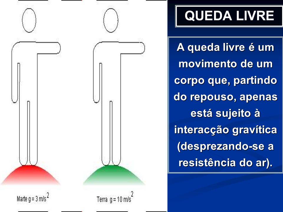 A queda livre é um movimento de um corpo que, partindo do repouso, apenas está sujeito à interacção gravítica (desprezando-se a resistência do ar). QU